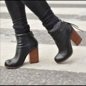 Jeffrey Campbell Rumble Black Leather Ankle Boots